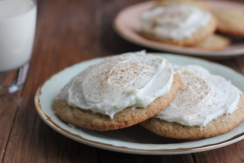 Frosted Eggnog Cookies!!! Made with Davidson's Safest Choice Eggs! These cookies have the perfect eggnog flavor, not overwhelming and just enough amazing holiday flavor and they are topped with a delicious eggnog frosting! These cookies must be baked this holiday season!