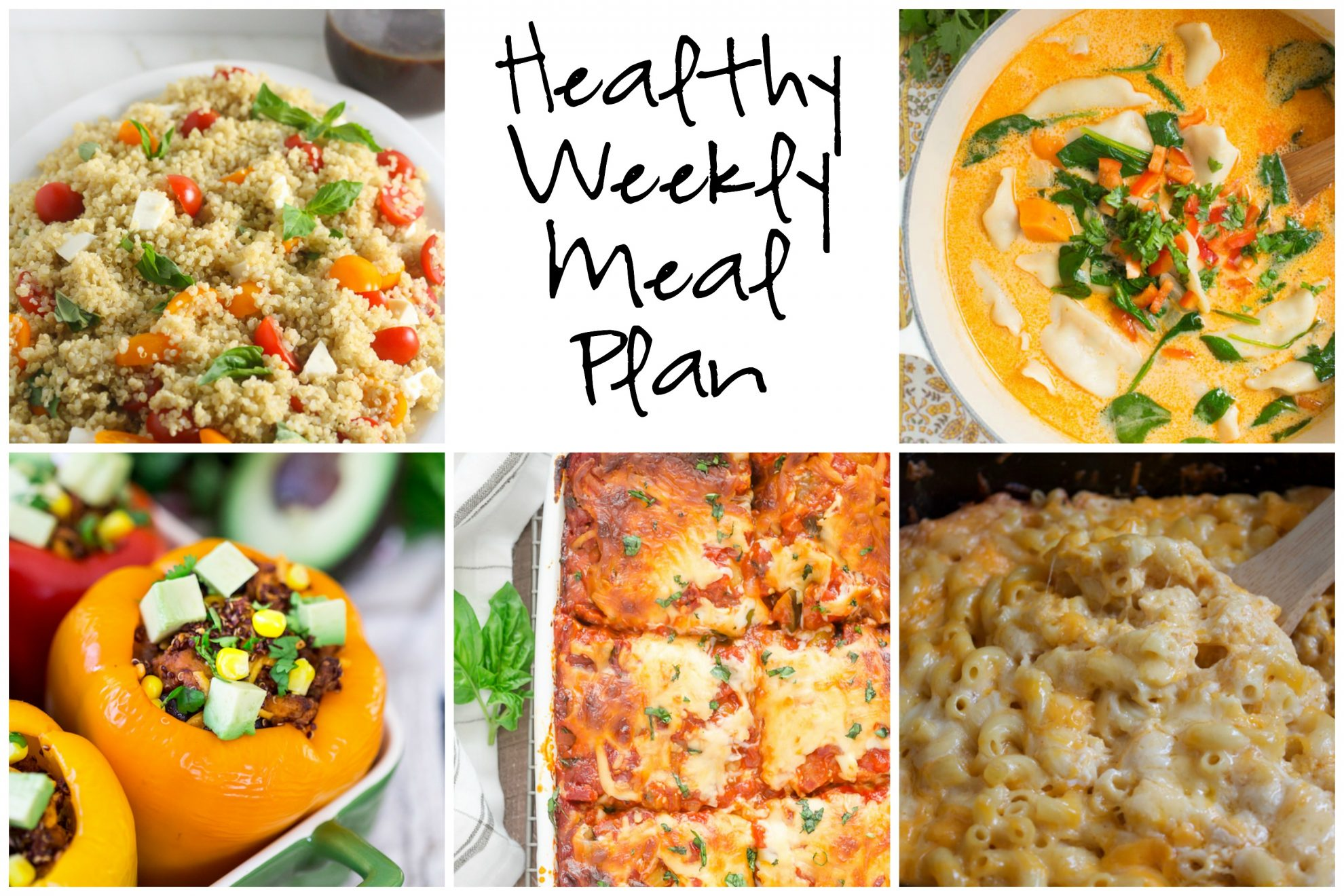 Healthy Weekly Meal Plan 2.11.17 featuring a Thai Coconut Pot Sticker Soup, Slow Cooker Mac and Cheese, Mexican Chicken and Quinoa Stuffed Peppers and more!