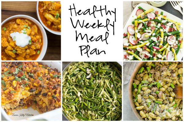 Healthy Weekly Meal Plan 3.18.17 featuring Quinoa Chickpea Cauliflower Curry Stew, a Green Bean, Radish, and Bacon Salad, Lemony Pesto Pasta with Asparagus and more!