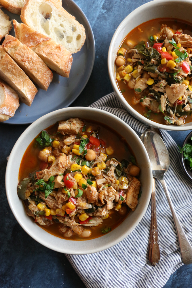 White Bean Chicken Chili Soup! Made with swiss chard, spinach, cannellini beans, garbanzo beans and more! And rotisserie chicken for added flavor, and it's a time saver! I hope you try this!