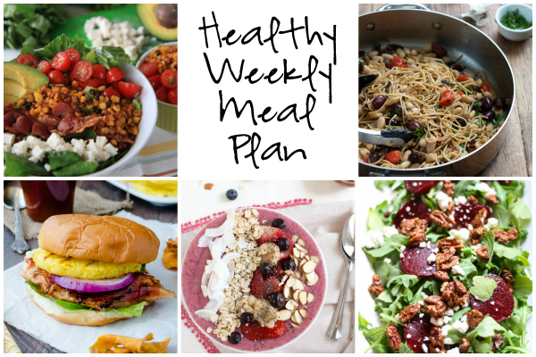 Weekly Meal Plan 4.16.17 featuring a BLT Chopped Salad, Whole Grain Pasta with White Beans and Tomatoes, an Arugula Beet Salad and more!