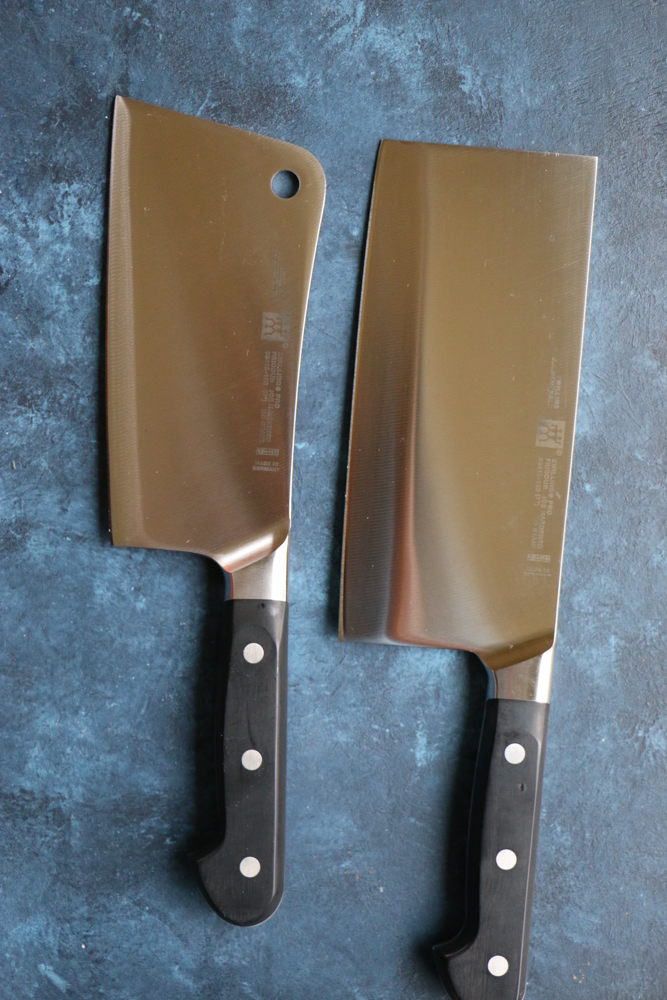 Two knives used for Chicken and Veggie Spring Rolls.