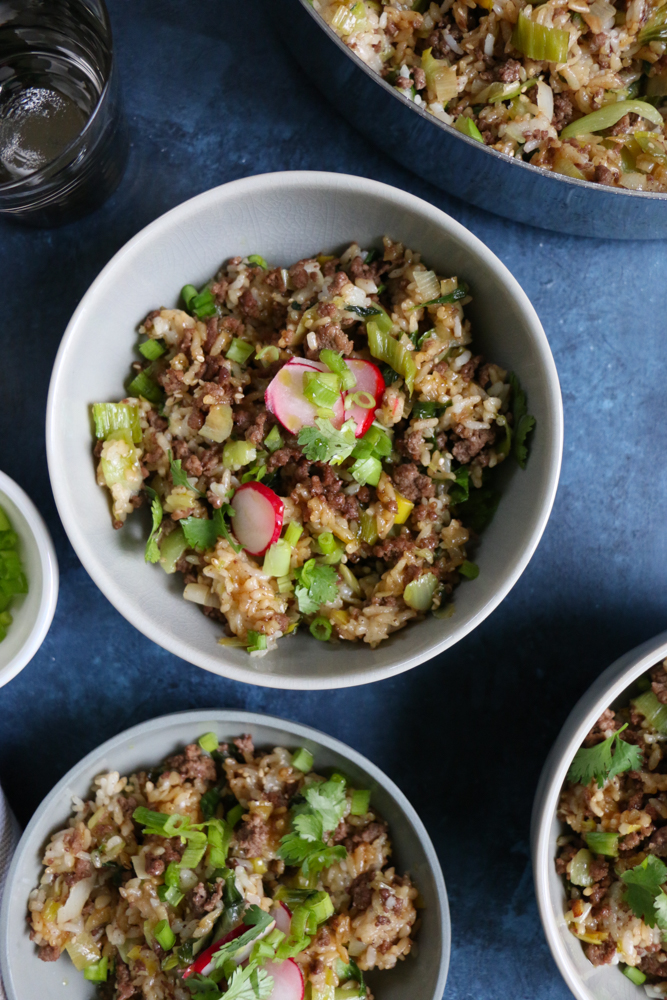 Beef and Ginger Fried Rice. Super easy to make and so flavorful and delicious! Top the fried rice with quick pickled radishes, or kimchi! Break out your wok and make this happen!