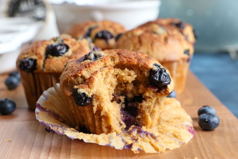 Healthy Blueberry Almond Muffins made with White Lily all-purpose baking flour! The perfect blend of almond flour, coconut sugar and big, juicy blueberries bursting with flavor! You have to try these!