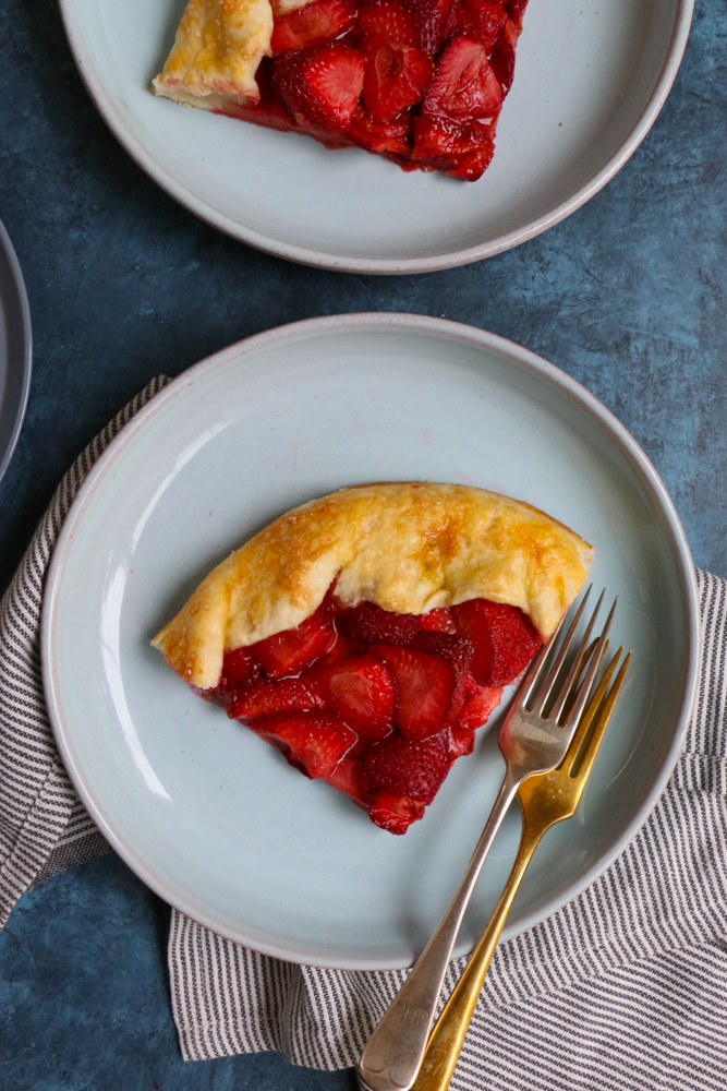 Plates with slices of Strawberry Galette.