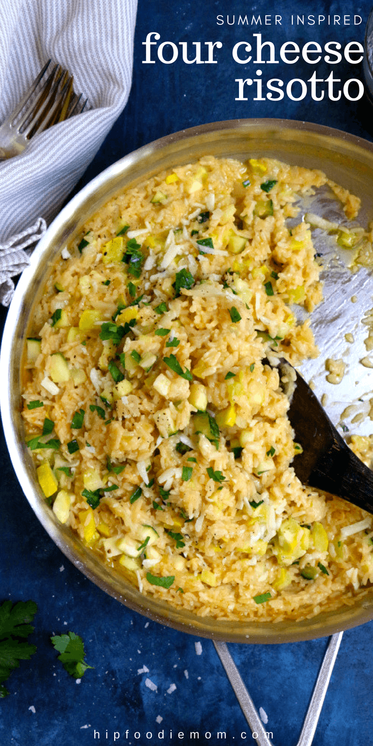 Four Cheese Risotto with delicious in-season zucchini and summer squash! Have this amazing one-pot dinner on the table in under 25 minutes! #fourcheeserisotto #risotto #summerrisotto #dinnerideas #easydinner #summersquash #zucchinirisotto #onepotmeal #onepotrecipe