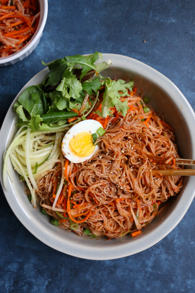 Spicy Korean Cold Noodle Salad! This is my version of Korean Bibim Naeng Myun for the summer!