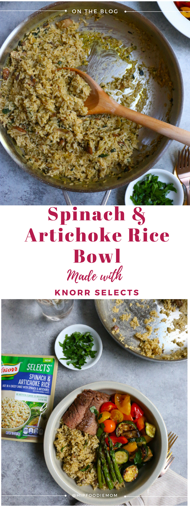 Delicious Summer Spinach Artichoke Rice Bowl with grilled veggies and meat! Now, this is what I call a perfect summer meal! So much goodness here! #ricebowl #spinachartichoke #summerdinner #grilling #easydinner #healthydinner #grilledvegetables #rice