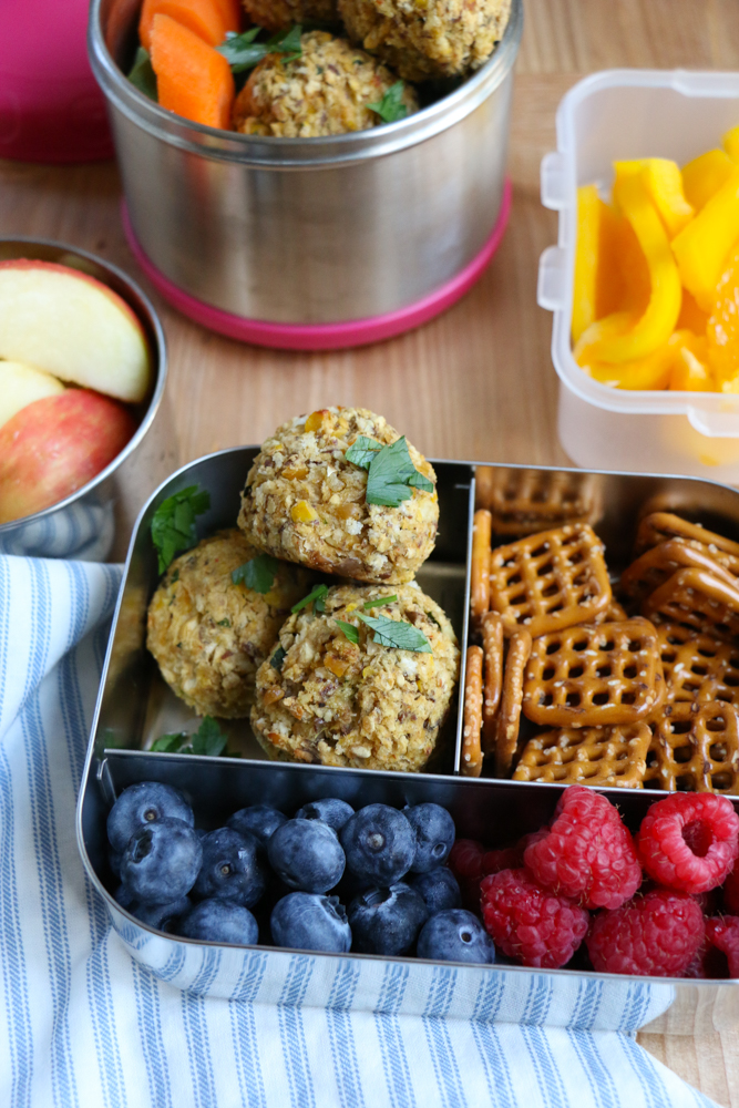 Chickpea Veggie Meatballs! Packed with chickpeas, eggplant, zucchini, flax and more, these are a great option to pack into your child's lunch!