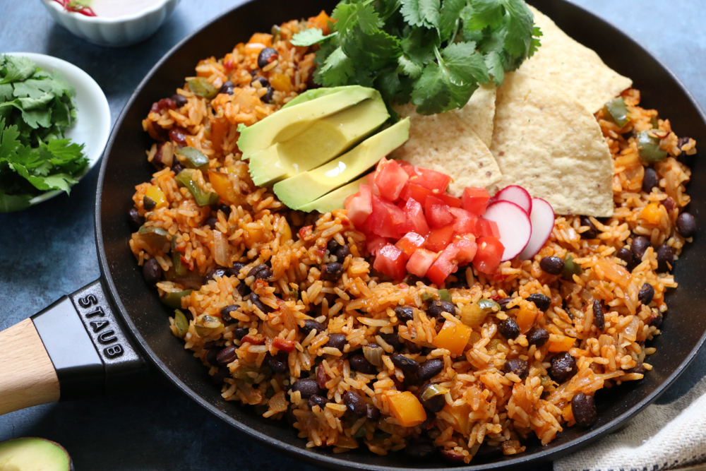 Rustic Mexican Rice And Beans Skillet Dinner Hip Foodie Mom