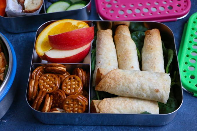 Chicken Veggie Taquitos + A Giveaway! BBQ baked shredded chicken and sauteed vegetables, rolled up into crispy, delicious BAKED taquitos! Great for packing into school lunches!