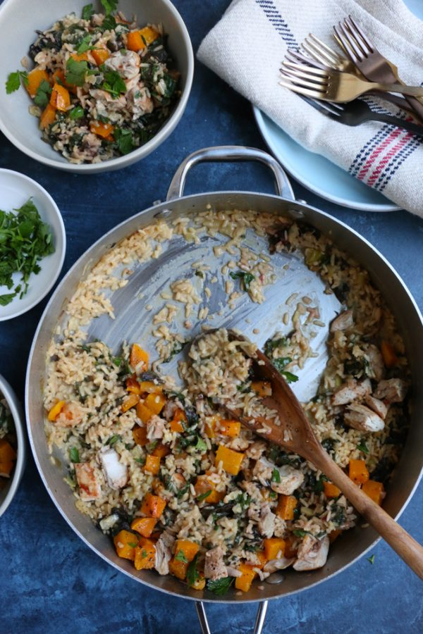 Fall-Inspired Roasted Garlic Alfredo Rice with roasted butternut squash, chard, leeks and more! Celebrating fall produce right from my local farmers market!