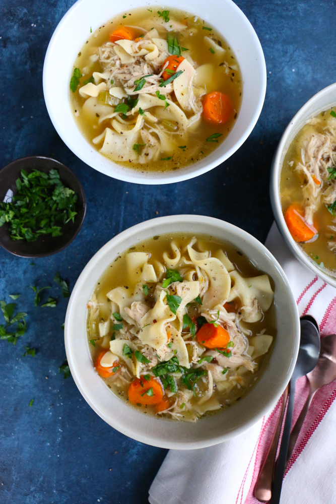Pressure Cooker Chicken Noodle Soup! Easier, faster and still rich in flavor! This recipe is from America's Test Kitchen's Cooking At Home with Bridget and Julia's new cookbook! So good!