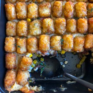 Hotdish Tater Tot Casserole! This is a comfort food staple found in households across the Upper Midwest. It's easy to make and feeds a crowd!