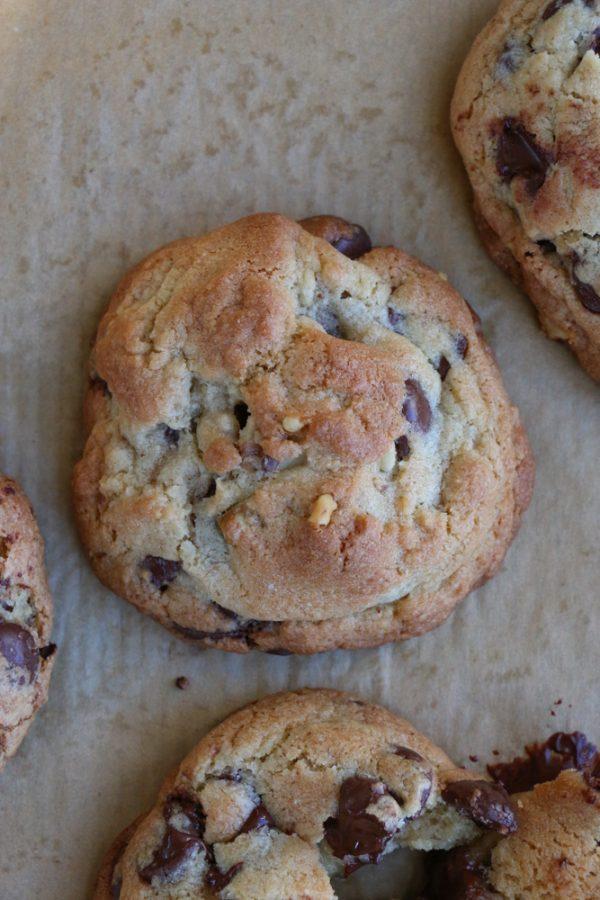 Overhead photo of baked homemade cookies on baking sheet