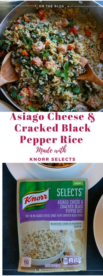 Asiago Cheese and Cracked Black Pepper Rice with Ham.Packed with mushrooms, carrots, kale and ham, this dish is so delicious and the perfect way to revamp your holiday leftovers!