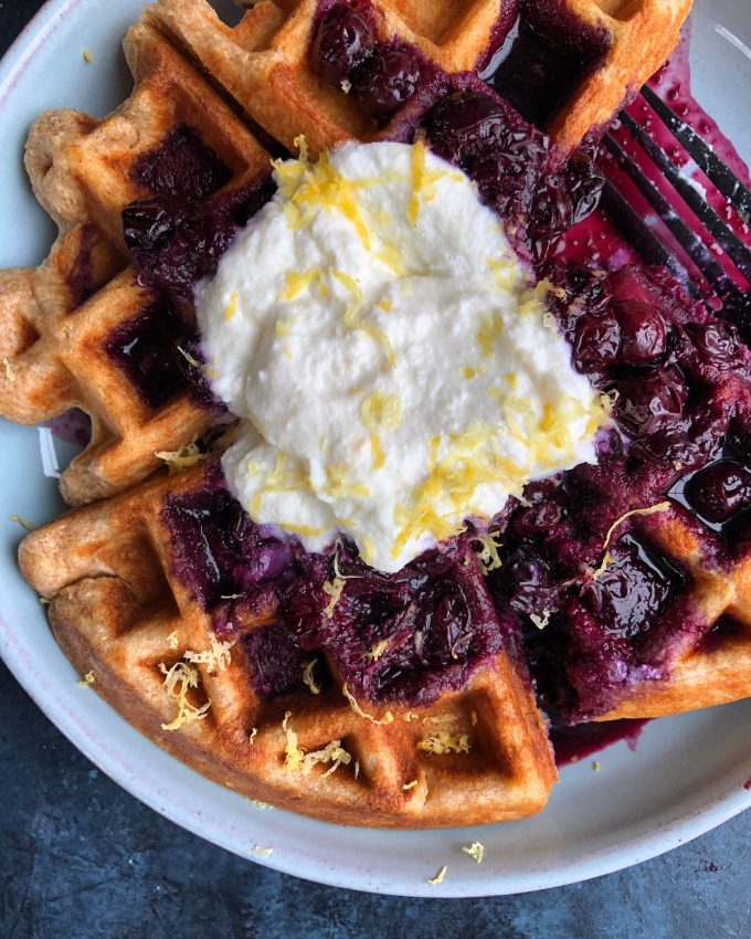 Spelt Waffles with Blueberry Compote + A Giveaway! Spelt Waffles with Blueberry Compote and Lemon Ricotta Cream from Bobby Flay's new cookbook, Fit! 200 recipes for a healthy lifestyle!