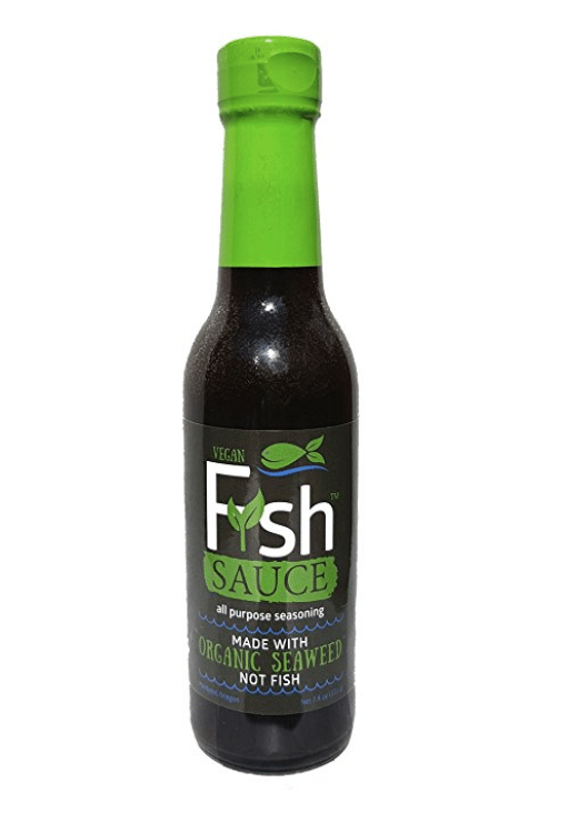 bottle of vegan fish sauce