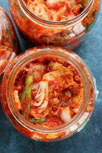 vegan kimchi in a jar