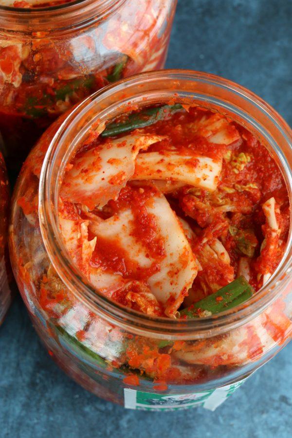 homemade kimchi in glass jar