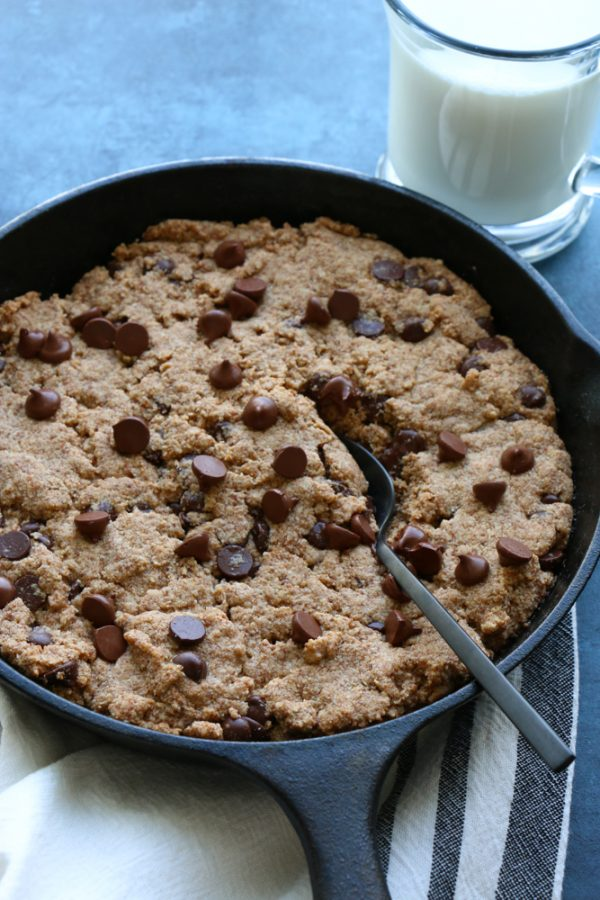 Paleo Chocolate Chip Skillet Cookie! Gluten free, vegan and oh so good! I use a flax egg, made using ground flaxseed meal so there's also added nutrition and fiber!