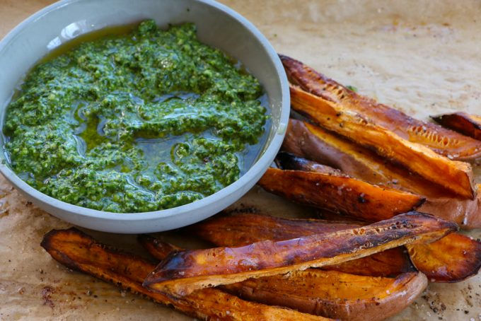 Roasted Sweet Potatoes with Arugula Pesto! One of my favorite snacks or small meals and so easy to make!