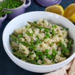 Spring Risotto with Asparagus and Peas! Spring is here! Celebrate the flavors and produce of spring by making this delicious and fabulous spring risotto! Asparagus, peas and hints of lemon, this risotto is amazing!