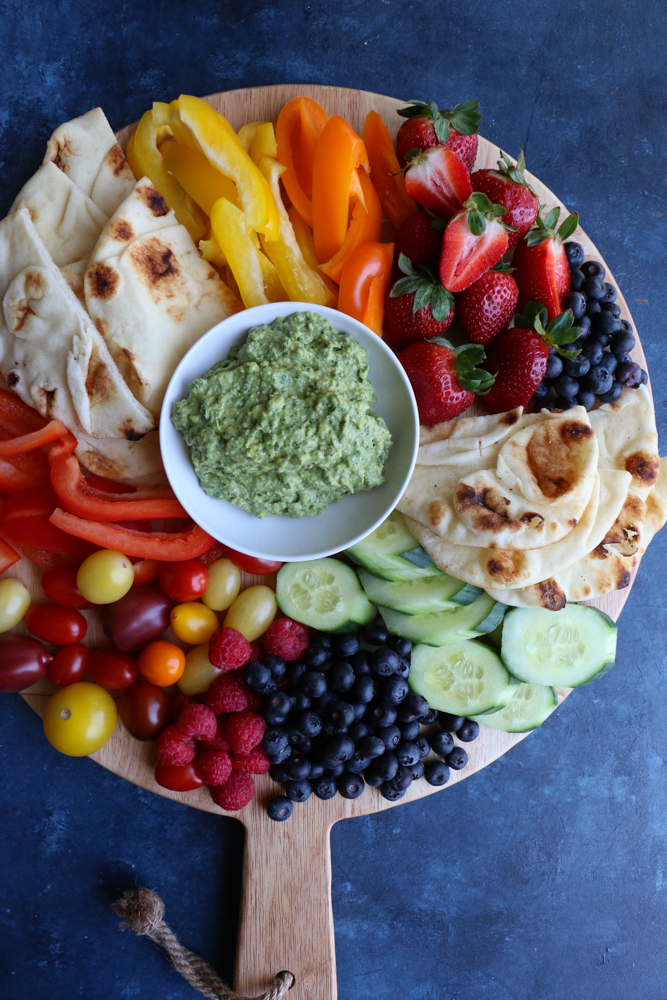 Crudite platter with pita bread and Green Goddess Avocado Sauce.