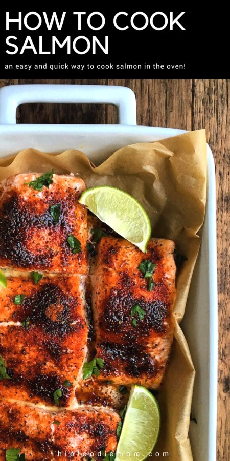 How To Cook Salmon in your oven! I drizzle on a little extra virgin olive oil, season mine with a lemon pepper seasoning from Penzeys Spices and some smoked paprika! Garnish with fresh parsley and squeeze on some lemon or lime juice! Enjoy! #howtocooksalmon #salmon #fish #seafood #ovenbakedsalmon #bakedsalmon #bakedfish