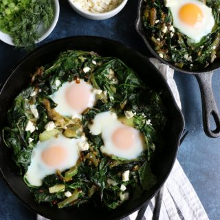 Green Shakshuka! Inspired by my recent trip to La Crosse, Wisconsin, this is a play on traditional shakshuka. This flavorful, bright green dish is made with leeks, Swiss chard, spinach, celery and more! You are going to love this!