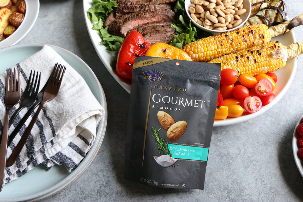 Our Summer Grilling Platter filled with all of our favorites! Grilled flank steak, corn, grilled zucchini, eggplant, bell peppers, Blue Diamond Crafted Gourmet Rosemary and Sea Salt almonds and more! Perfect for summer entertaining! #ad