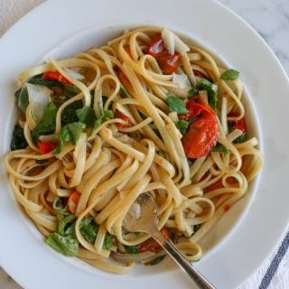 Easy Weeknight Pasta! Throw everything into one pot and within 10 to 12 minutes, you have dinner! Can't get any easier than that!