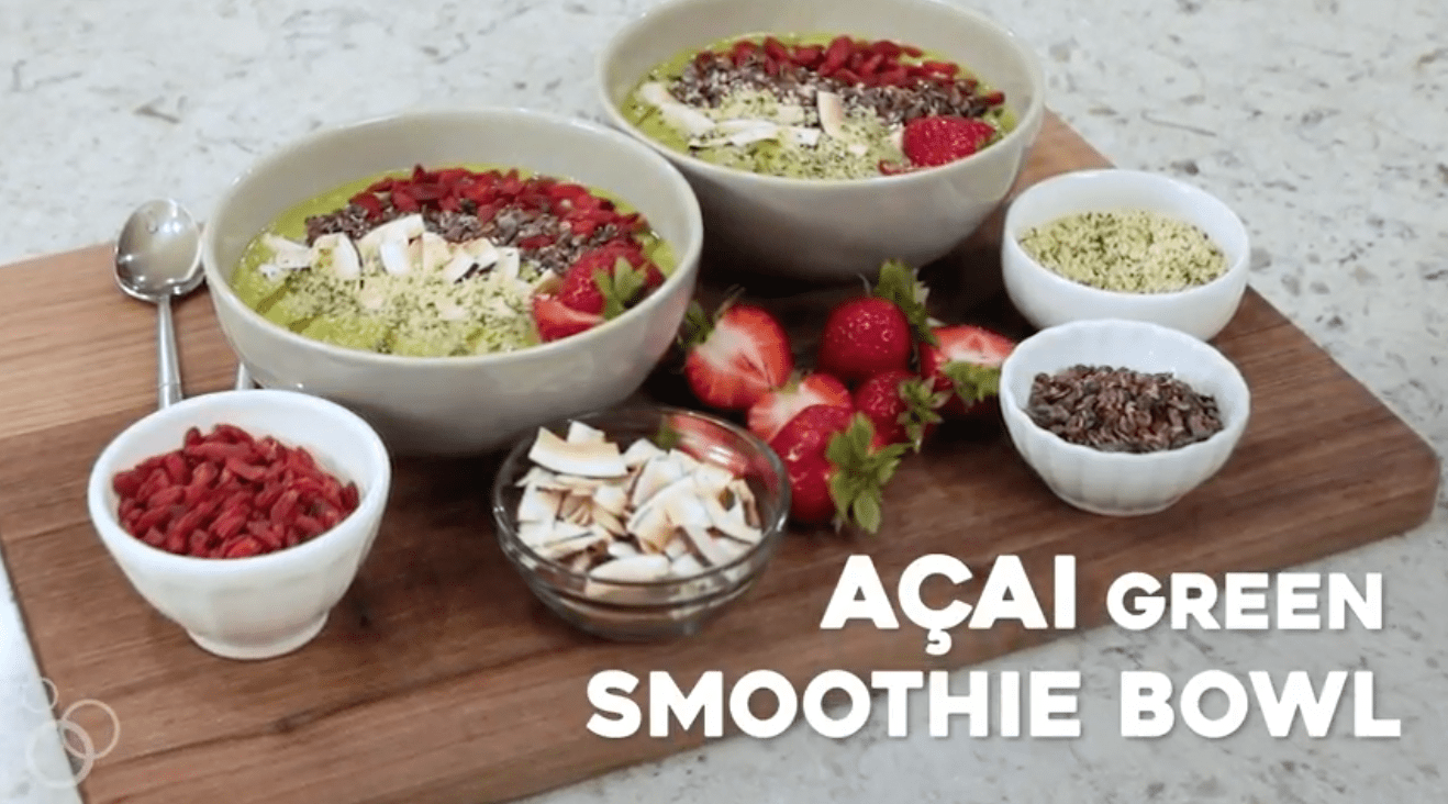 Acai Green Smoothie Bowl! This is a great way to get some greens, nutrition and fiber into your body in the morning!
