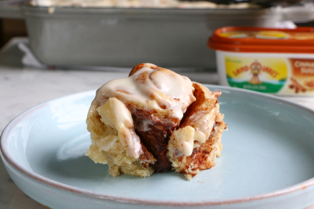 Cinnamon Sugar Cinnamon Rolls made with Land O Lakes® Cinnamon Sugar Butter Spread! These cinnamon rolls have an extra layer of goodness! You have to bake these!