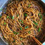 vegetarian lo mein in wok