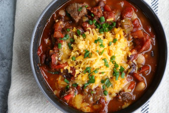 Game Day Steak Chili! Use beef sirloin, flank steak or any cut of steak and you've got yourself one bowl of hearty deliciousness! I hope you try this!