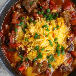 Game Day Steak Chili! Use beef sirloin, flank steak or any cut of steak and you've got yourself one bowl of hearty deliciousness!