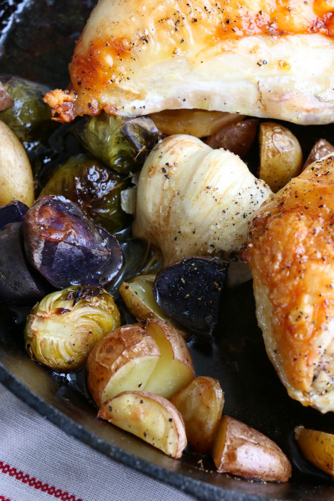 Skillet Roast Chicken with brussels sprouts and fingerling potatoes! So delicious and so easy to make!