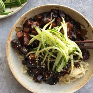 Jajangmyeon (Korean black bean noodles) in a bowl