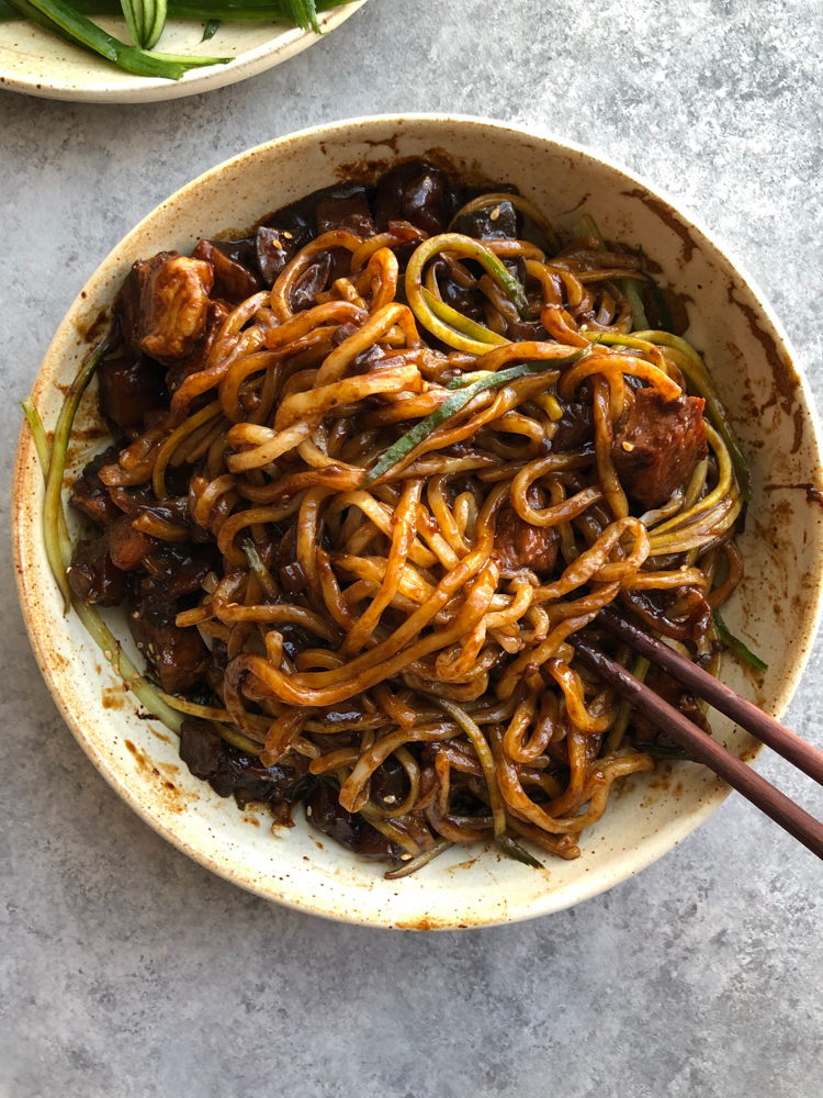 bowl of Korean Noodles with Black Bean Sauce