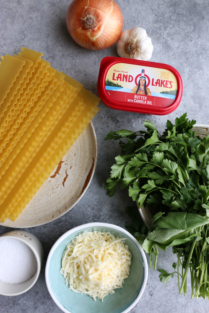 One Pan Skillet Lasagna made with Italian sausage, mozzarella cheese, Land O Lakes® Butter with Canola Oil and more! So easy and delicious!