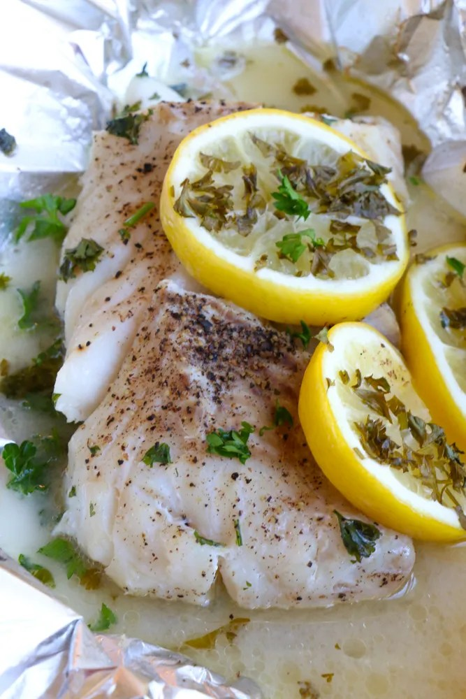 Grilled Cod in foil! So good!