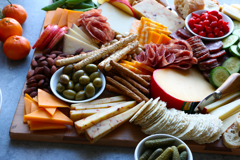 A beautiful cheese board for holiday parties!