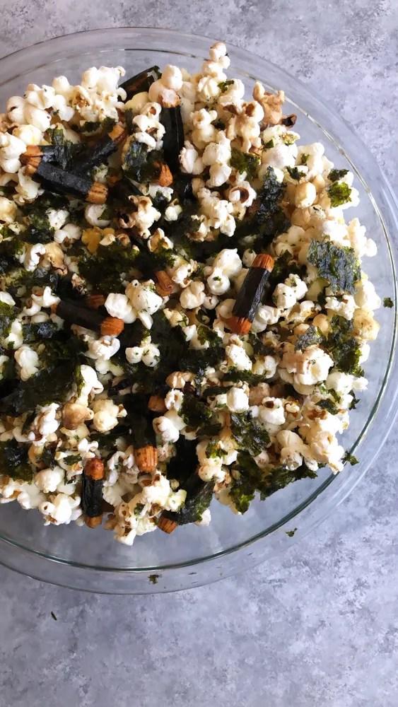 A popular, delicious and addicting Hawaiian snack, Hurricane Popcorn is popcorn with furikake and nori maki arare rice crackers.