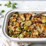 Brussels Sprouts with Bacon Casserole. It's so delicious and so easy to make. This is the perfect side dish for your Thanksgiving Day table!