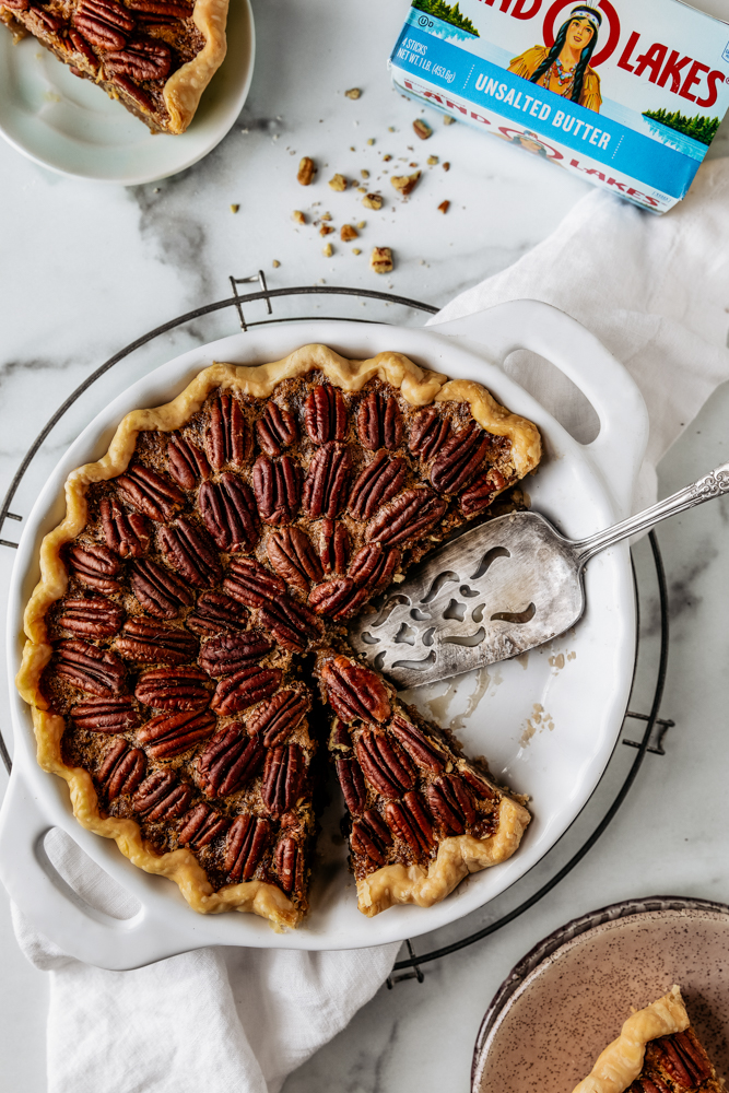 Classic Pecan Pie made with Land O Lakes® Unsalted Butter! The perfect pie to make for the holidays! We hope you enjoy!