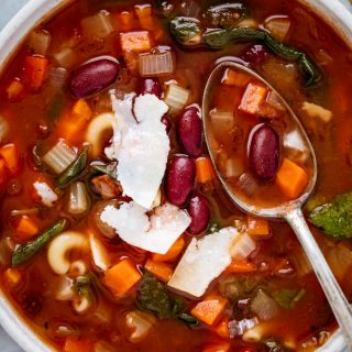 Minestrone Soup! Loaded with fresh vegetables, beans, and pasta, this soup is so comforting and delicious. No fail flavor booster included!