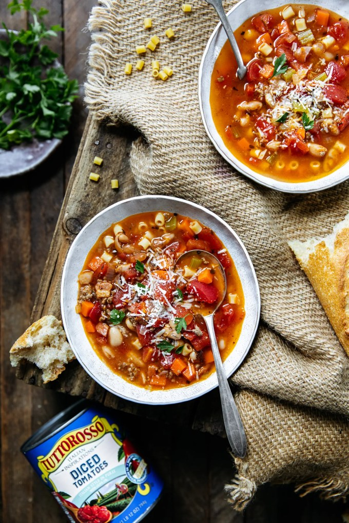 Instant Pot Pasta e Fagioli! One of our favorite soups to make! Made with Tuttorosso diced tomatoes, you won't believe how incredible this Pasta e Fagioli is! We hope you try it!