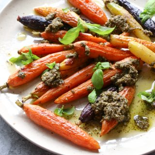 Roasted Carrots with Pesto! Sometimes, you don't need to do anything fancy to have a delicious meal. See my post for my best tips!