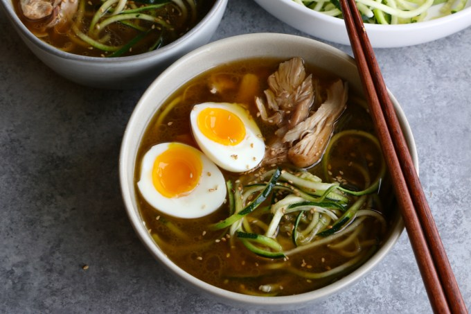 Chicken Ramen with Zucchini Noodles! Made in the instant pot and using zucchini noodles, this is fast, delicious and low carb!